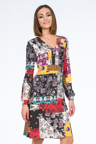 Rochie Printed Patchwork Multicolor