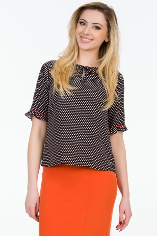 Bluza viscoza Evelin Negru+orange